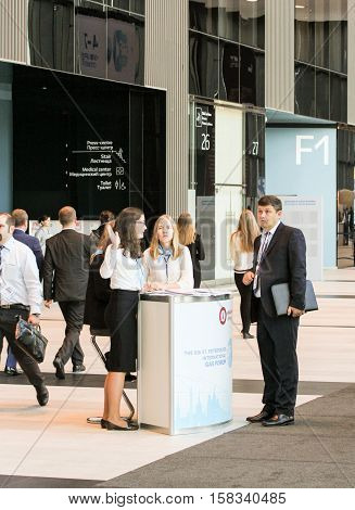 St. Petersburg, Russia - 5 October, People in the lobby expo forum, 5 October, 2016. Petersburg Gas Forum which takes place in Expoforum.
