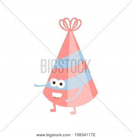 Stripy Party Hat Children Birthday Party Attribute Cartoon Happy Humanized Character In Girly Colors. Kids Celebration Related Object With Smiling Face Flat Vector Illustration.