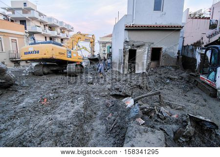 Scaletta Marina, Italy - October 3 2009. A landslide has invaded the Sicilian town causing many deaths. The collapse of a mountain caused hundreds of tons of earth and rock fell on buildings and cars.