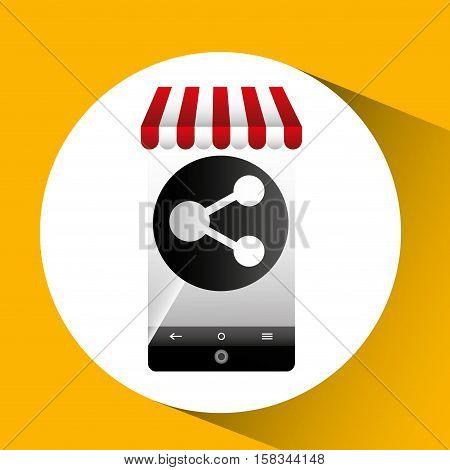 hand holding e-shopping share design vector illustration eps 10