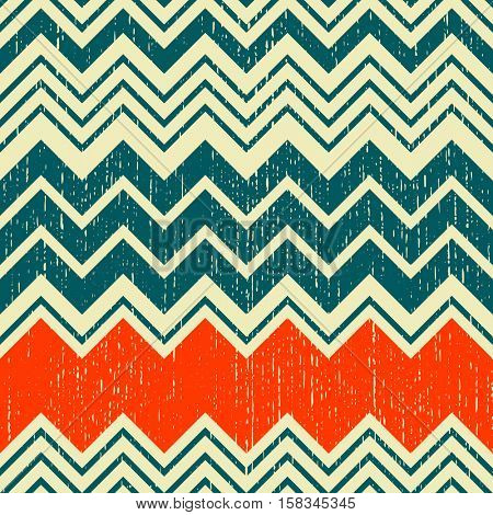 Seamless ZigZag Pattern. Abstract Hipster Background. Vector Regular Zig Zag Texture. Grunge Art Wallpaper