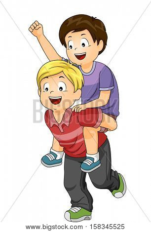 Illustration of a Blond Boy Giving His Brown Haired Friend a Piggyback Ride