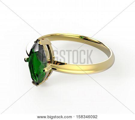 Wedding ring with gem isolated on white background. Fashion jewelery. 3d digitally rendered illustration