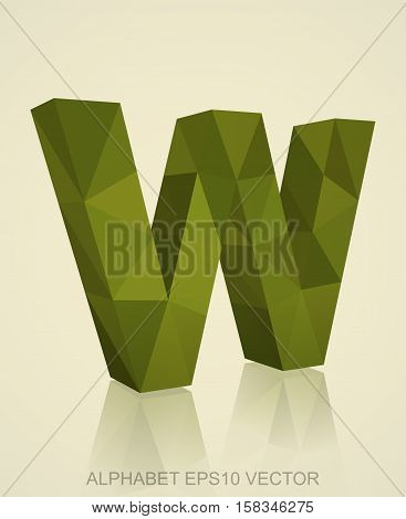 Abstract Khaki 3D polygonal uppercase letter W with reflection. Low poly alphabet collection. EPS 10 vector illustration.