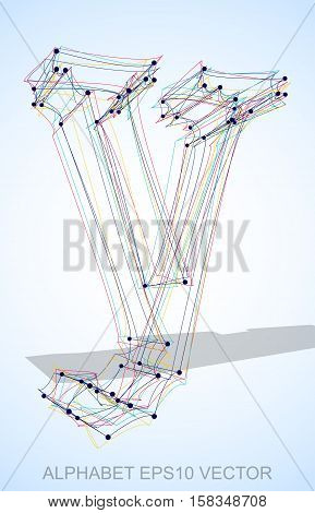Abstract illustration of a Multicolor sketched lowercase letter Y with Transparent Shadow. Hand drawn 3D Y for your design. EPS 10 vector illustration.