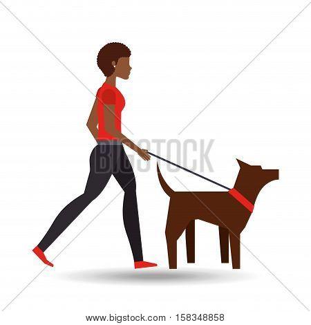 girl afro walking a brown dog vector illustration eps 10