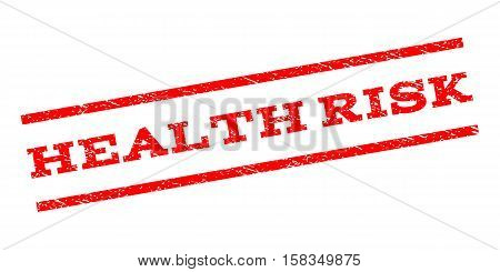 Health Risk watermark stamp. Text caption between parallel lines with grunge design style. Rubber seal stamp with scratched texture. Vector red color ink imprint on a white background.