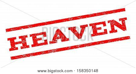 Heaven watermark stamp. Text tag between parallel lines with grunge design style. Rubber seal stamp with scratched texture. Vector red color ink imprint on a white background.