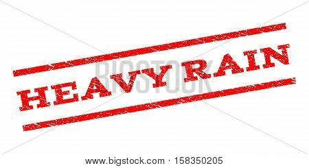 Heavy Rain watermark stamp. Text caption between parallel lines with grunge design style. Rubber seal stamp with dirty texture. Vector red color ink imprint on a white background.