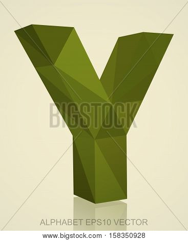 Abstract Khaki 3D polygonal Y with reflection. Low poly alphabet collection. EPS 10 vector illustration.