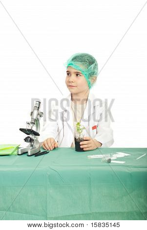 Thinking Small Student Boy In Laboratory