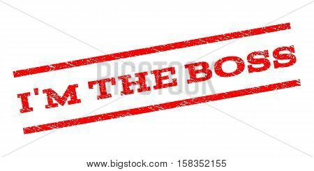 I'M The Boss watermark stamp. Text tag between parallel lines with grunge design style. Rubber seal stamp with dirty texture. Vector red color ink imprint on a white background.