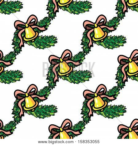 seamless ornament with hand drawn handbells and pine branches cartoon style