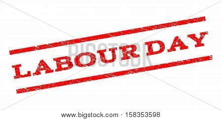 Labour Day watermark stamp. Text caption between parallel lines with grunge design style. Rubber seal stamp with dirty texture. Vector red color ink imprint on a white background.
