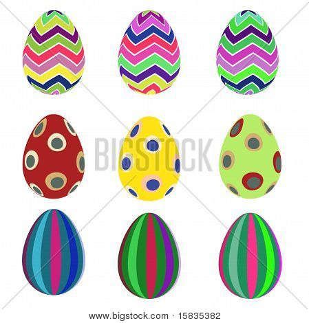 Set of nine easter eggs