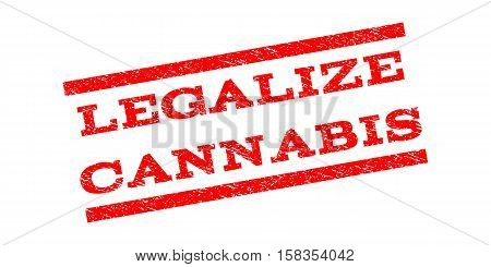 Legalize Cannabis watermark stamp. Text tag between parallel lines with grunge design style. Rubber seal stamp with unclean texture. Vector red color ink imprint on a white background.