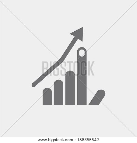 icon flat hand, index finger up, arrow, growth, business program progress symbol