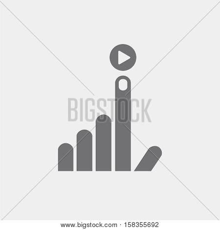 icon flat hand, index finger up, the play icon to play an application program, progress, symbol, logo, all thumbs up, communication, friendship, humanity.