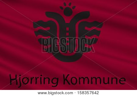 Flag of Hjorring is a municipality in Region Nordjylland in Denmark. 3d illustration