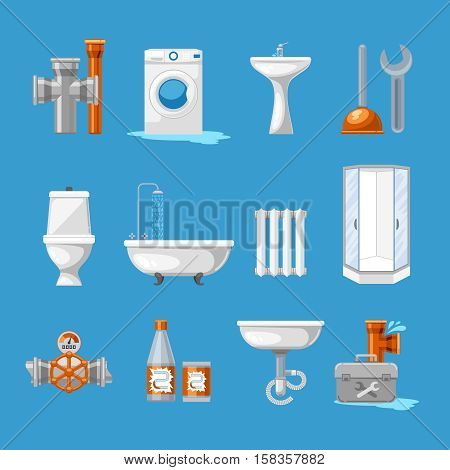 Plumbing and sanitary engineering icons. Sink and toilet, piping and kitchen equipment. Pipes for bathroom, vector illustration