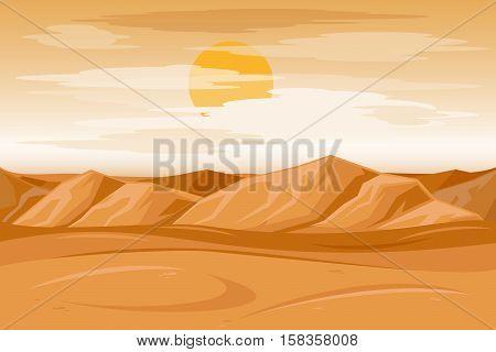 Desert mountains sandstone background. Dry desert under sun, endless sand desert. Vector illustration