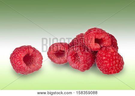 Extreme close-up image of raspberries studio isolated on white background