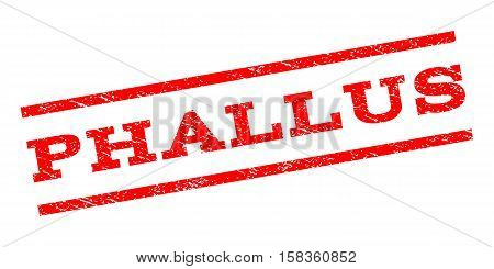 Phallus watermark stamp. Text tag between parallel lines with grunge design style. Rubber seal stamp with dust texture. Vector red color ink imprint on a white background.