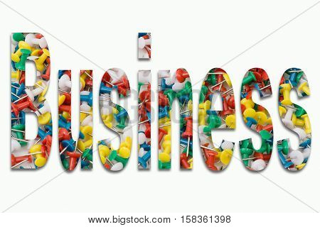 Business - pins in writing inserted on white background