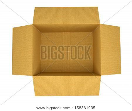 Open Corrugated cardboard box isolated on white background, top view. 3D illustration