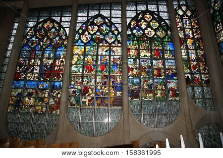 France- May 4: Cathedral Of St. Joan Of Arc On May 4, 2012 In Rouen, France. Stained Glass Windows C