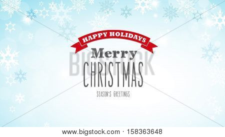 Christmas silver background with snowflakes and decent red and white Merry Christmas text - horizontal version