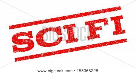 Sci Fi watermark stamp. Text caption between parallel lines with grunge design style. Rubber seal stamp with unclean texture. Vector red color ink imprint on a white background.