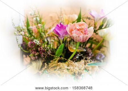 Flower wedding holiday decoration, beautiful pink roses peony blooming bouquet