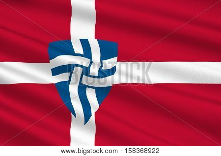 Flag of Mariagerfjord is a municipality in Region Nordjylland in Denmark. 3d illustration