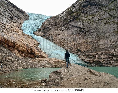 Mountaineer In Briksdal Glacier, Norway