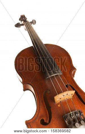 Front View of a Violin, Isolated on White