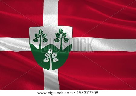 Flag of Rebild is a municipality in Region Nordjylland in Denmark. 3d illustration