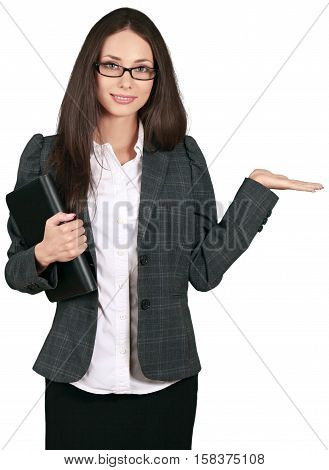 Businesswoman with Organizer and Invisible Object - Isolated