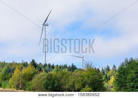 Wind turbine renewable energy source. Eco power.