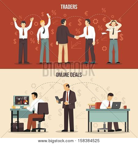Horizontal trading finance banners with traders making agreements and online deals flat isolated vector illustration