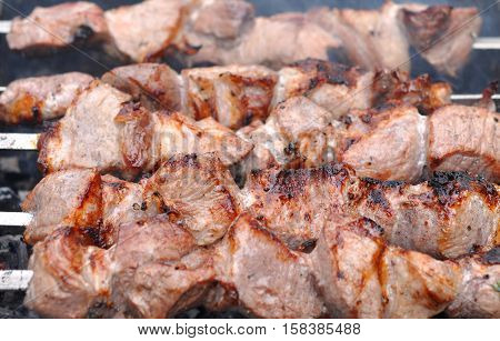 Roasted Barbecue Beef Meat Kebabs with Spice Macro