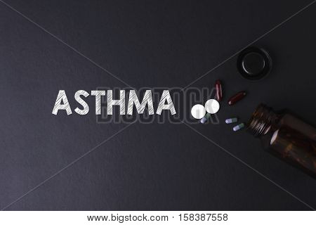 ASTHMA word with medicine and bottle - Health concept. Medical conceptual
