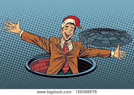 Hello businessman Christmas surprise. Pop art retro vector illustration. Luke city sewer