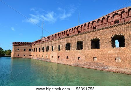 Fort Jefferson national park an old fort located on the island of Dry. Tortugas. This is off the coast of Florida.It served as fort and prison during the Civil War.
