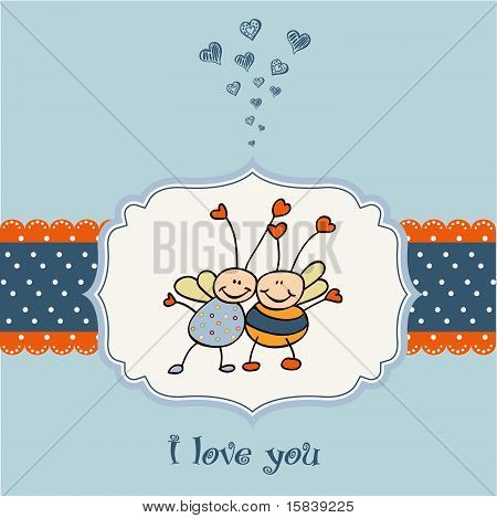 love card with bees