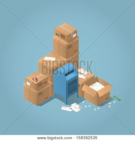Vector isometric mail delivery concept illustration. Stacks of parcel boxes of different sizes letters mail office box open box adhesive tape and paper knife.