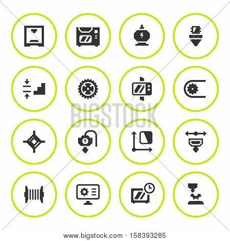 Set round icons of 3D printing isolated on white. Vector illustration