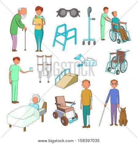 Disability people care icons set. Cartoon illustration of 16 disability people care vector icons for web