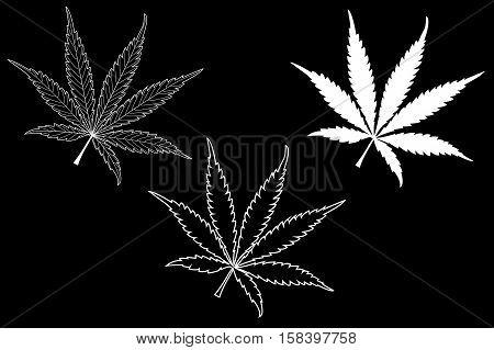 Marijuana leaf , cannabis , cannabis leaf set