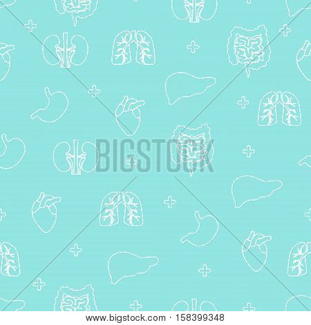 Seamless pattern of cute internal body organs in line style on blue background. Lungs, kidneys, stomach, intestine, heart, liver cartoon characters. Medical concept. Vector illustration.